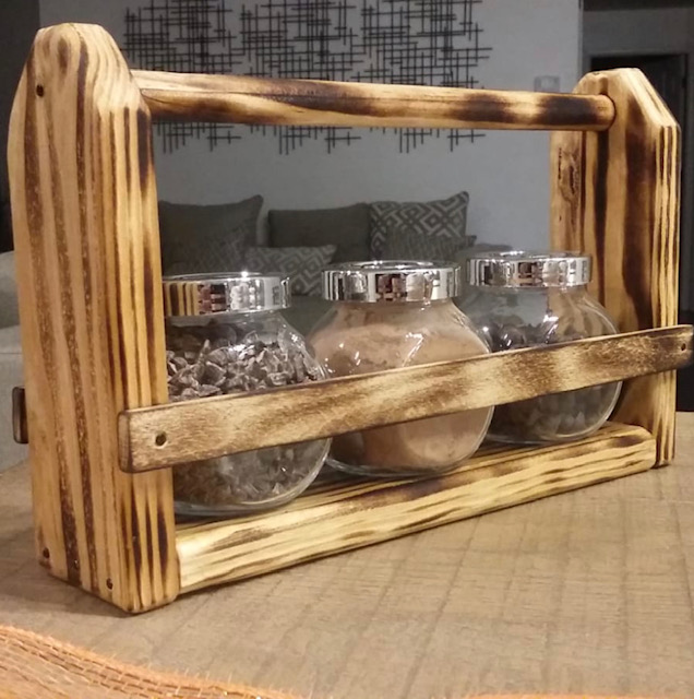 3pk Rustic Wood Caddy (Total price includes 6 units)